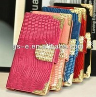 Luxury Diamond Lizard PU Leather Wallet Flip Case For Samsung Galaxy Note 2/Note3