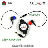 3.5mm Custom logo fashion design Retractable ear buds with Mic