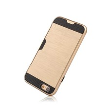 Exquisite case for Iphone 6, 6 Plus Silicone Material Brushed Metal Armour Case with Back Card Slot Design