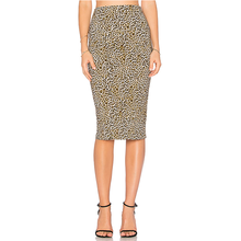 women animal leopard printed pencil skirt knee length office skirts designs