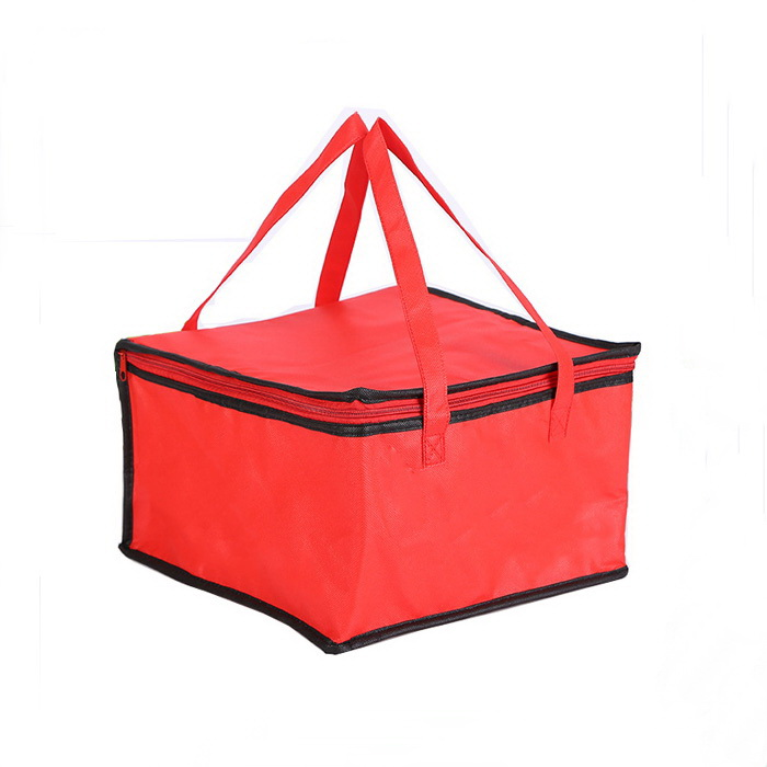 Custom wholesale red non woven insulated picnic lunch cooler bag/ large portable pizza warmer bag