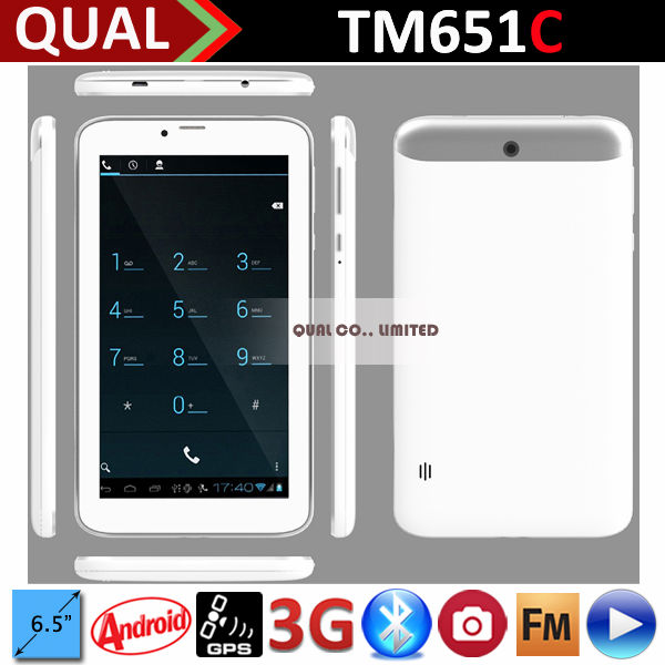 6.5 inch 3g tablet devices with MTK8312 best smart phone dual sim Bluetooth GPS FM Android 4.4 B
