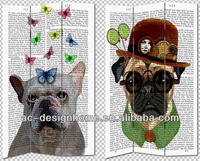 DOG 3 PANEL CANVAS/WOODEN FOLDING SCREEN