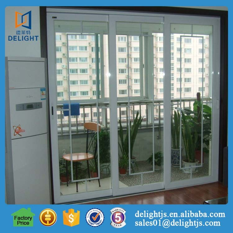 Double glazed large aluminum stacking sliding glass doors