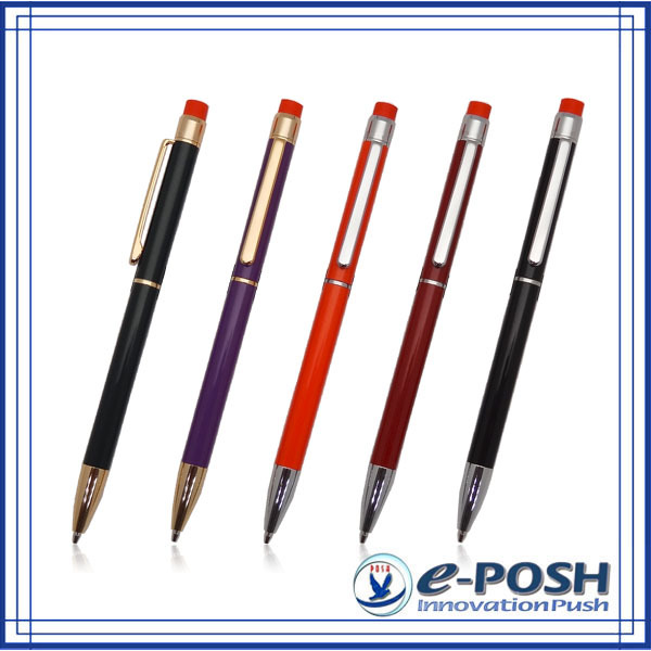 Elegant metal color slim twist action 0.7 mm lead mechanical pencil