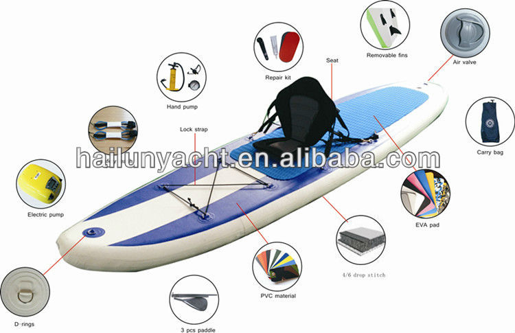 2016 popular inflatable sup paddle board with different sizes for sale