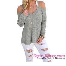 2016 Wholesale Gray Knit Long Sleeves Women Sweaters