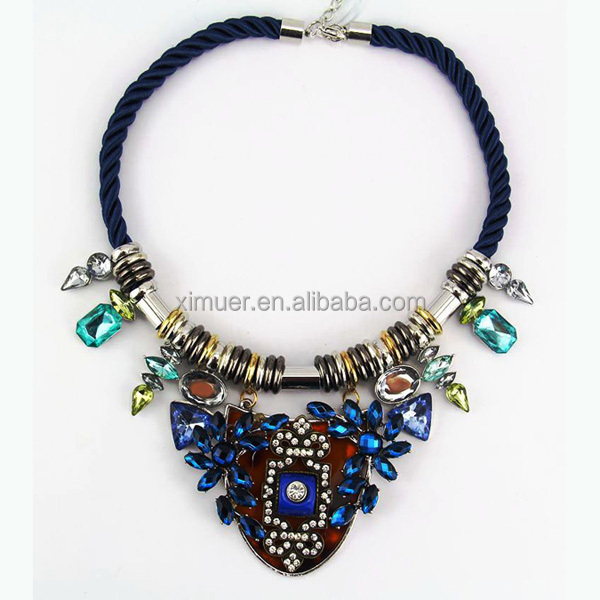 Latest design high quality black rope necklace