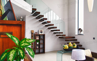 Metal Wood Straight Staircase with Glass Victorian Stairway /Spindle Stairway