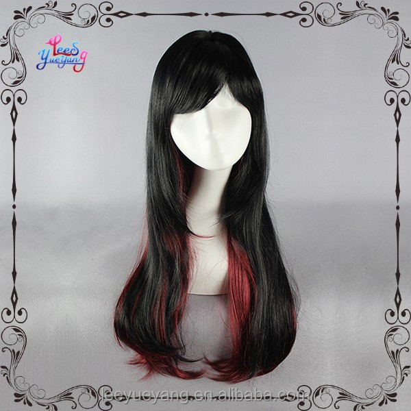 Layered Sexy black fashion wigs with red highlights