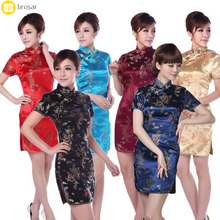 New ladies short sleeve sexy red cheongsam qipao dresses Qi pao blossom Cheongsam vestidos Dress
