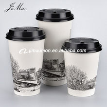 wholesale cheap customized logo Printed disposable hot coffee Paper Cups to go disposable hot paper cups