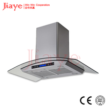 iaye best selling kitchen island hood, most popular star type island range hood with curved glass canopy JY-HI9004