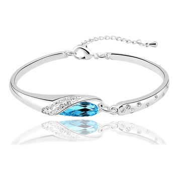 Fashion Turquoise Cuff Bracelet Silver And Gold Plated Women Bracelets Bangles Wholesale Crystal Jewelry Mother's Day Gift 2017