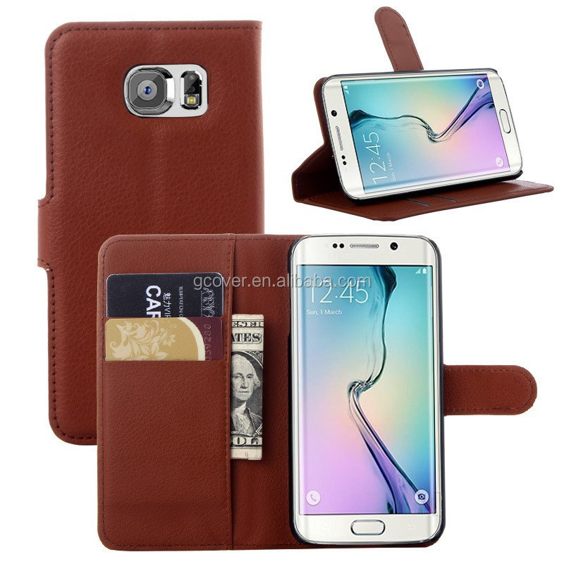 New arrival for Samsung galaxy S6 edge wallet case, classic brown PU leather case for Samsung Galaxy S6 edge