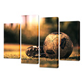 Canvas Wall Art Soccer Shoes & Football On The Green Grass-Filtered Image Modern Giclee Canvas Prints Home Wall Decoration