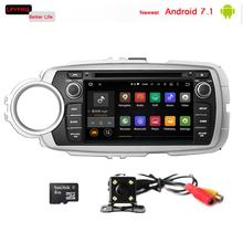 LPYFRG C600 2 din 7'' android 7.1 car gps stereo with audio video system for toyota yaris 2012 2013 RDS Wifi DAB multimedia