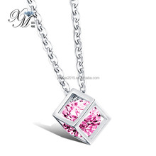 Lovely female male pink cz stone box shape hollow cube square pendant