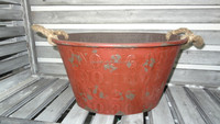 galvanized vintage style flower pot with embossing numbers