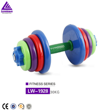 Factory wholesale Lenwave 30kg dismountable Color rubber iron dumbbell lumping weight