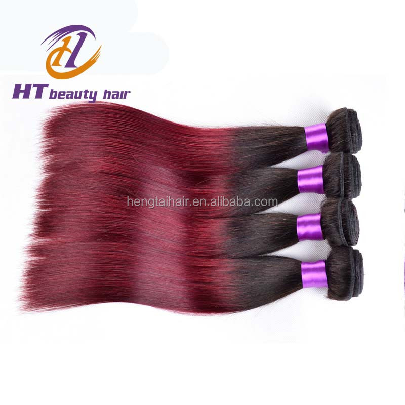 4 Bundles Malaysian Virgin Hair Straight T1B/Burgundy Dark Root Ombre Hair Extensions Red Malaysian Hair Weaves