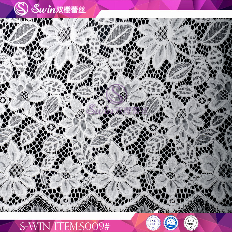 White textile lace fabric flower cotton material Dubai Fabric Lace Wedding for sale