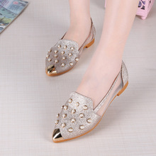ZH1287F Wholesale china sequin gauze beaded fashion shoes women flat lady casual shoes