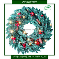 60cm 120Tips Holiday Decoration Artificial Lighted Christmas Wreath with Red Berries and Pinecones