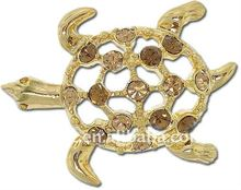 pave gold diamond 18k gold sea turtle brooches pin jewelry