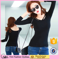 OEM round neck cotton women long sleeve tee plain sexy slim fit t shirt