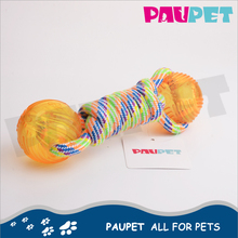 Fine appearance pet products colored braided pet cotton rope with plastic ball