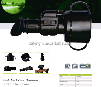 Gen 2+ image intensifier telescope Night Vision Monocular with 5x lens