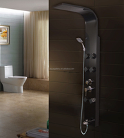 Matt Black Finished Wall Mounted Functional Stainless Steel Shower Panel