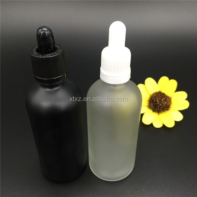 essential oil cosmetic package 100ml matt clear glass e liquid <strong>bottle</strong> with childproof dropper pipette