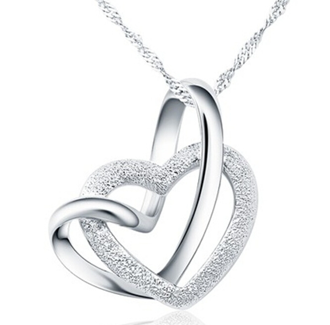 Wholesale silver double heart pendant <strong>necklace</strong> Touching love grind arenaceous silver <strong>necklace</strong>