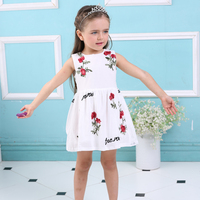 Summer Girls Dress White Designer Brand New Children Clothing Rose Flower Princess Wedding Party Lace Girl Clothes