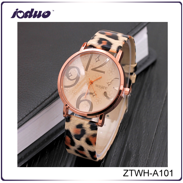 Latest Design Rose Gold Leather Leopard Watch For Women