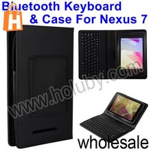 Silicone Wireless Bluetooth Mini Keyboard+Flip Leather Case for Google (ASUS) Nexus 7