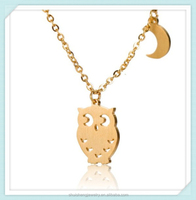 Unisex gift cheap hotsale item wholesale stainless steel gold plated necklace owl with moon charm