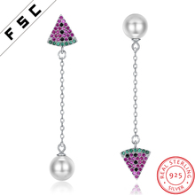 Custom Jewelry Cute Girls Handmade Crystal 925 Silver Long Dangle Earrings