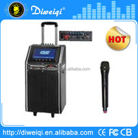 portable stereo digital speaker with USB FM SD Remote Battery screen DVD player MP5 guitar input
