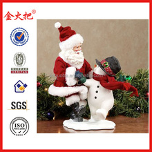 Friendship Clothtique Santa with Snowman Figurine