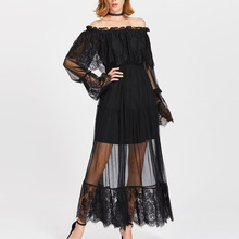 Long Flounce Sleeve Off The Shoulder Ruffle Sheer Ruched Pleated Maxi Dress