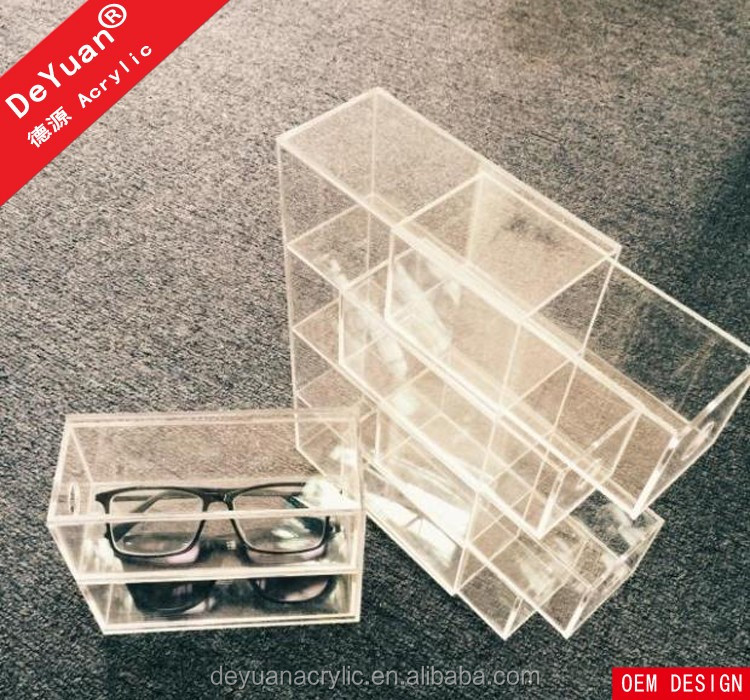 Custom Sunglass Box Retainer 3 Tier Clear Wholesale