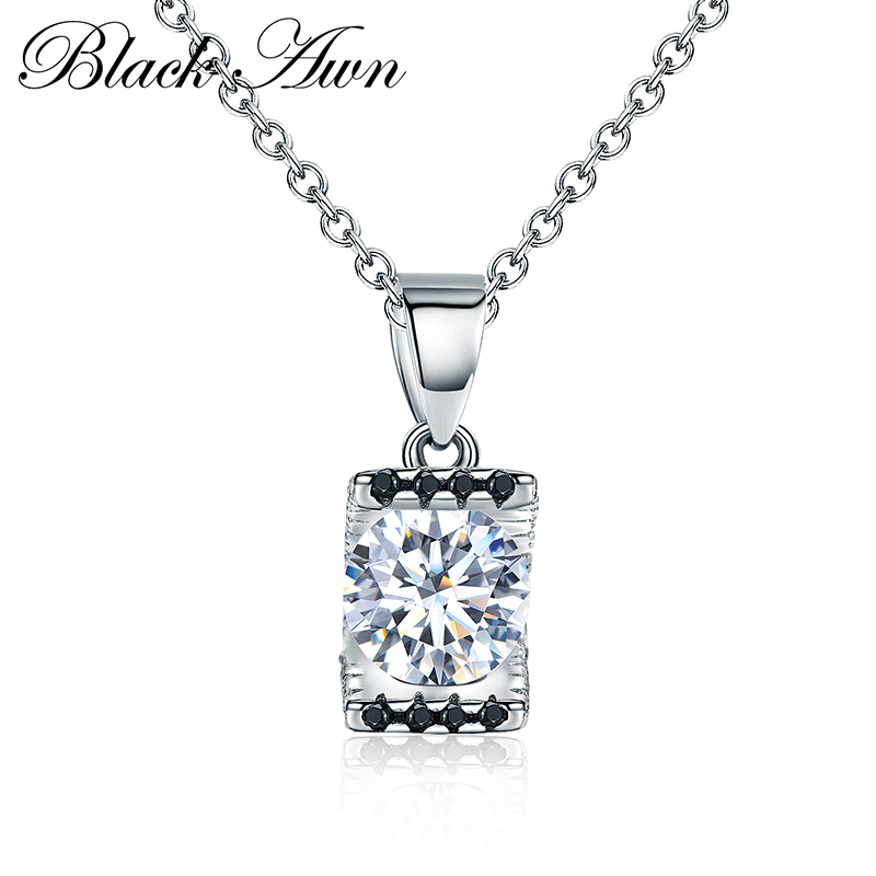 [BLACK AWN] 925 Sterling Silver Fine Jewelry Trendy Engagement Necklaces for Women Wedding Pendants <strong>P014</strong>