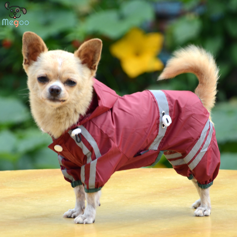 Outdoor Waterproof Pet Hoodie Jackets Reflective Stripe Pet Dog Raincoat