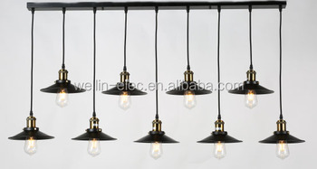 Industrial Vintage 9 Heads Pendant Light Iron Material with Edison Bulb Retro Chandelier for Decoration
