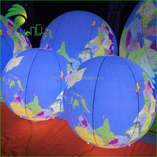 UV Printed Inflatable helium Led Light Earth Global Balls , Inflatable Hanging Planets