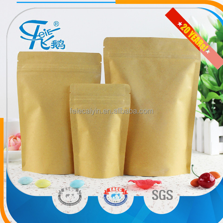 Food Packaging Colorful Printed food kraft paper bag with window and stand up aluminium foil coffee bag