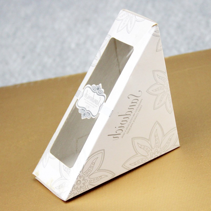 Custom Printed Triangle Sandwich Paper Packaging Box With